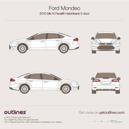 2010 Ford Mondeo IV Liftback Hatchback blueprints and drawings