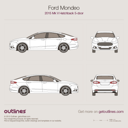 2015 Ford Mondeo V Liftback Hatchback blueprints and drawings