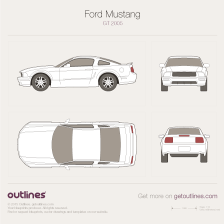Ford Mustang drawings and vector blueprints
