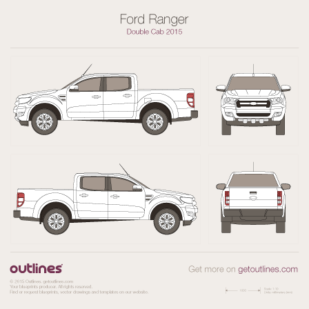 2015 Ford Ranger Double Cab Pickup Truck blueprint
