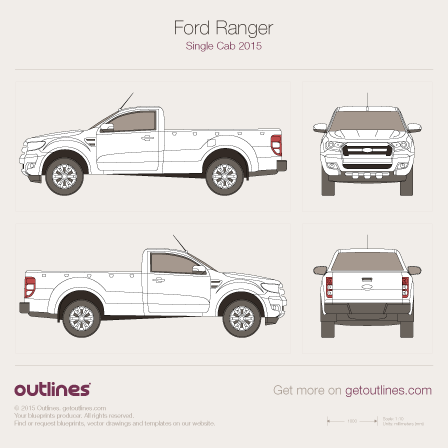 2015 Ford Ranger Single Cab Pickup Truck blueprint
