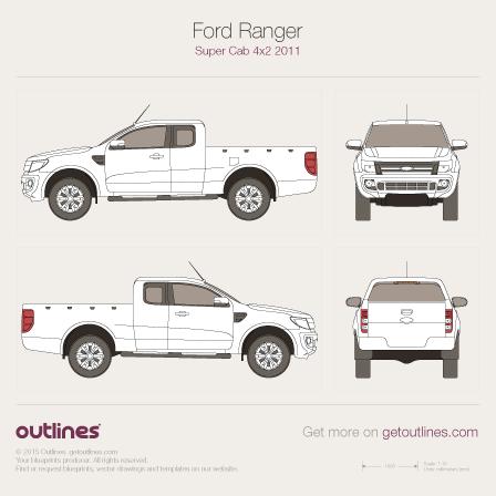 2006 Ford Ranger Mk II Extended Cab 2-doors Facelift Pickup Truck blueprint