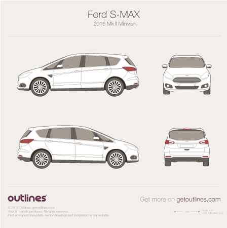 2015 Ford S-Max II Minivan blueprints and drawings