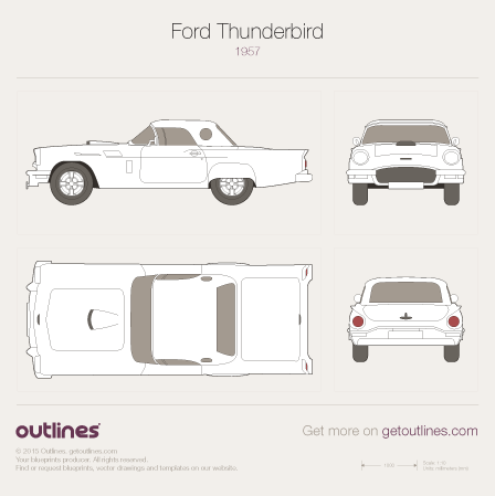1955 - 1956 Ford Thunderbird Mk I Cabriolet drawings