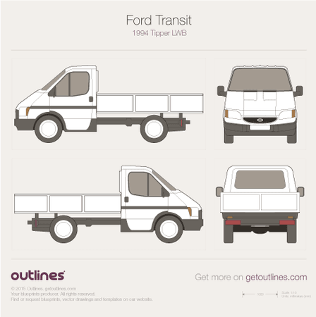 1994 Ford Transit Tipper Mk VI LWB Heavy Truck blueprint