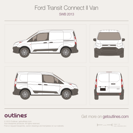 2013 Ford Transit Connect Van blueprints and drawings