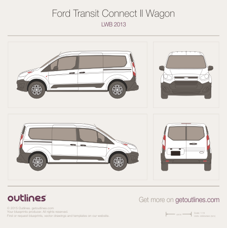 2009 Ford Tourneo Connect LWB Facelift Minivan blueprint