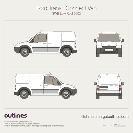 2002 Ford Transit Connect Van Van blueprints and drawings