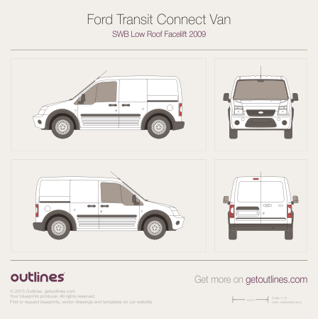 2009 Ford Transit Connect Van Van blueprints and drawings