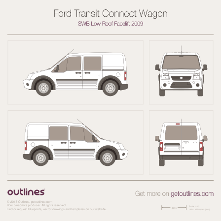 2009 Ford Transit Connect Wagon Wagon blueprints and drawings