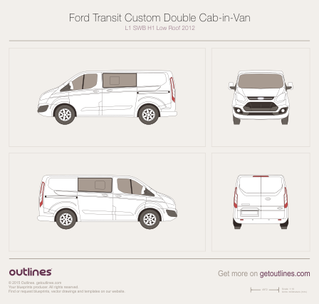 2012 Ford Transit Custom Double Cab-in-Van Van blueprints and drawings
