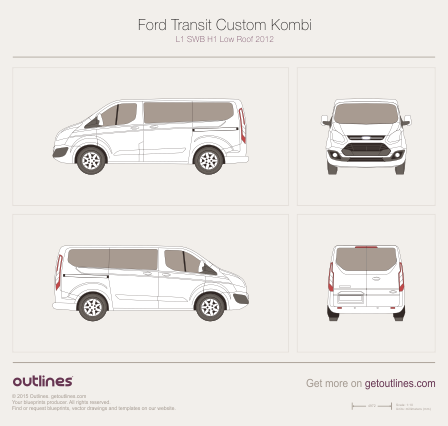 2012 Ford Transit Custom Kombi L1 SWB H1 Low Roof Minivan blueprint