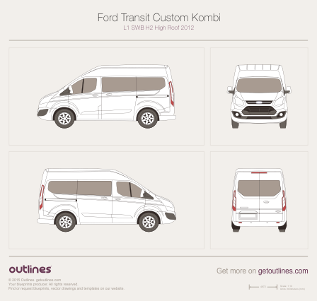 2012 Ford Tourneo Custom Minivan blueprints and drawings