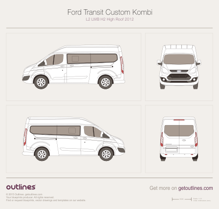 2012 Ford Tourneo Custom L2 LWB H2 High Roof Minivan blueprint