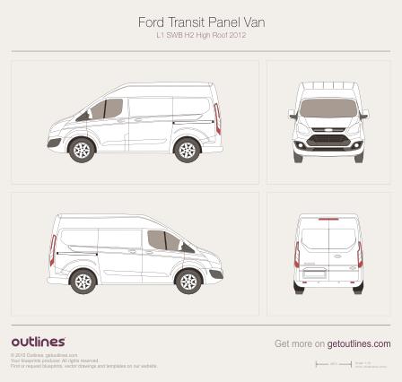 2012 Ford Transit Custom Panel Van L1 Swb H2 High Roof Van Drawings Download Vector Blueprints Outlines