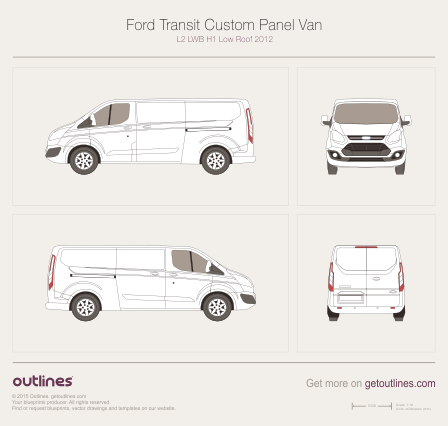 2012 Ford Transit Custom Panel Van L2 LWB H1 Low Roof Van blueprint