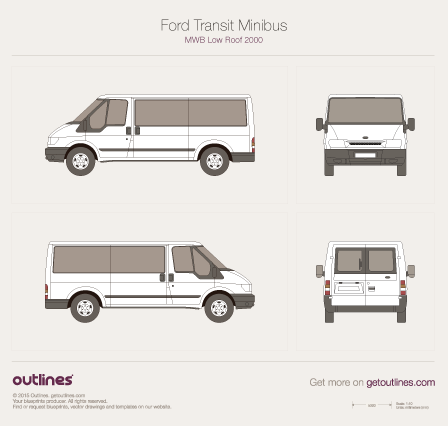 2000 Ford Transit Minibus Wagon blueprints and drawings