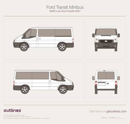 2007 Ford Tourneo Minibus MWB Low Roof Facelift Bus blueprint