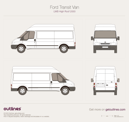 2000 Ford Transit Van LWB High Roof Van blueprint