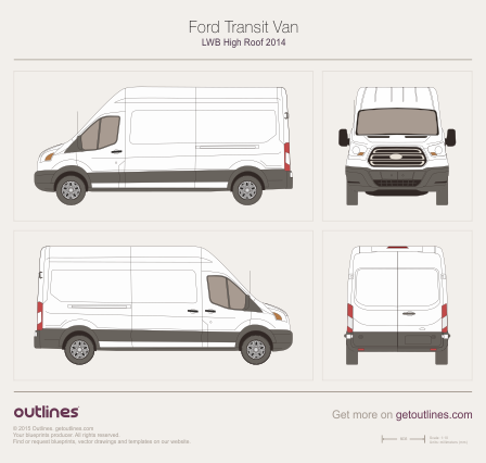 2013 Ford Transit Van LWB High Roof Van blueprint