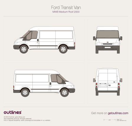 2000 Ford Transit Van MWB Medium Roof Van blueprint
