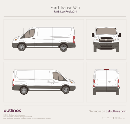 2013 Ford Transit Van RWB Low Roof Van blueprint