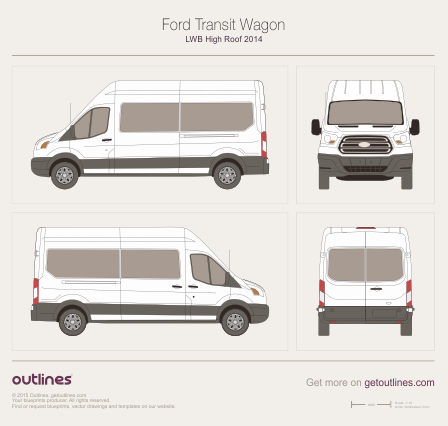 2013 Ford Transit Wagon LWB High Roof Wagon blueprint