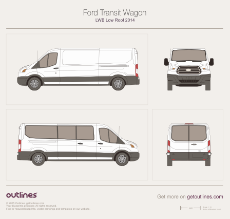 2013 Ford Transit Wagon LWB Low Roof Wagon blueprint
