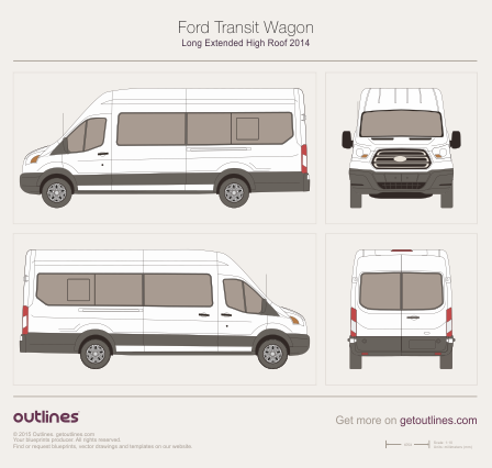 2013 Ford Transit Wagon Long Extended High Roof Wagon blueprint