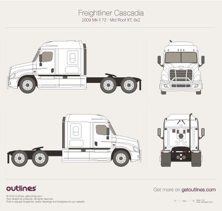 2009 Freightliner Cascadia Mk II Heavy Truck blueprints and drawings