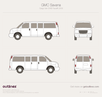 2003 GMC Savana 2500 Passenger RWB Facelift Van blueprint