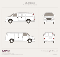 2003 GMC Savana 2500 Cargo EWB Facelift Van blueprint