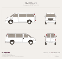 2003 GMC Savana 3500 Passenger RWB Facelift Van blueprint