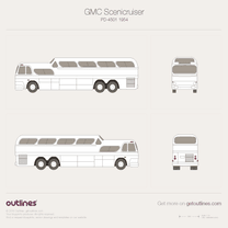 1954 GMC Scenicruiser PD-4501 Bus blueprint