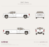 2007 GMC Sierra 1500 Extended Cab Long Box Pickup Truck blueprint