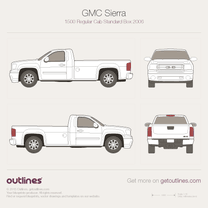 2007 GMC Sierra 1500 Regular Cab Standard Box Pickup Truck blueprint