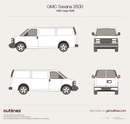 1996 GMC Savana 3500 Cargo RWB Van blueprint