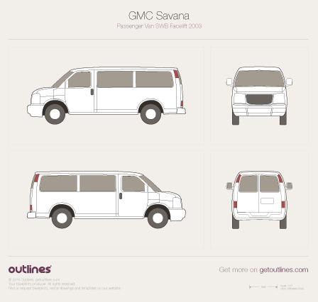 2003 Chevrolet Savana Passenger SWB Facelift Wagon blueprint