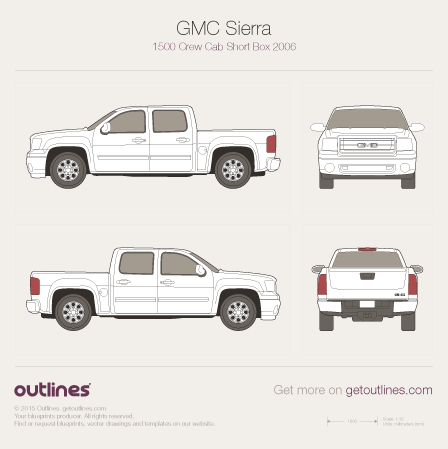 2007 GMC Sierra 1500 Crew Cab Short Box Pickup Truck blueprint