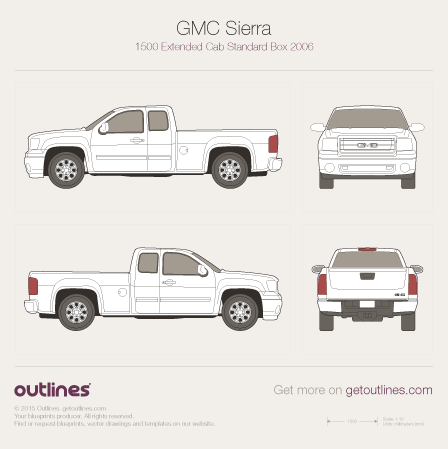 2007 GMC Sierra 1500 Double Cab Pickup Truck blueprint
