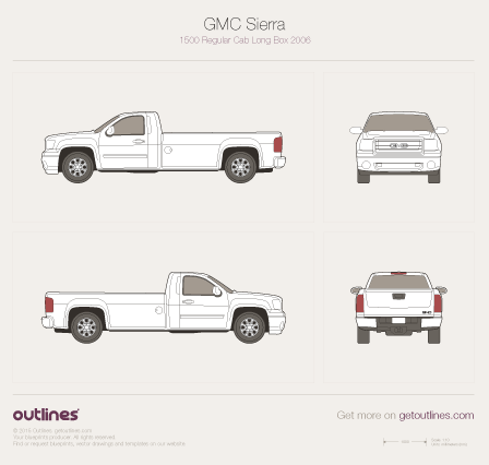 2007 GMC Sierra 1500 Regular Cab Long Box Pickup Truck blueprint