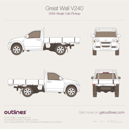 2006 Great Wall V240 Single Cab Pickup Truck blueprint
