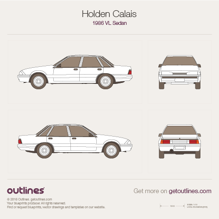 1986 Holden Calais VL Sedan blueprints and drawings