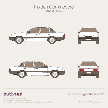 1986 Holden Commodore VL Sedan blueprints and drawings
