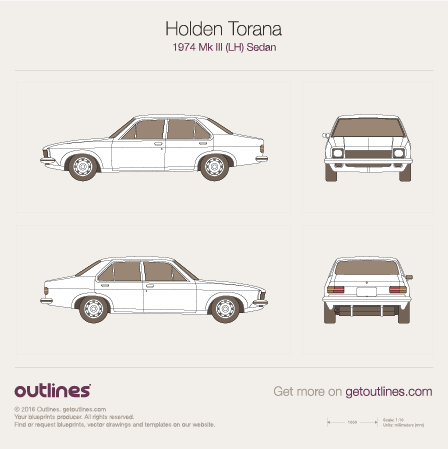 1974 Holden Torana Mk III (LH) Sedan blueprints and drawings