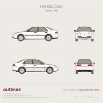 1991 Honda Civic EG8 Sedan blueprint