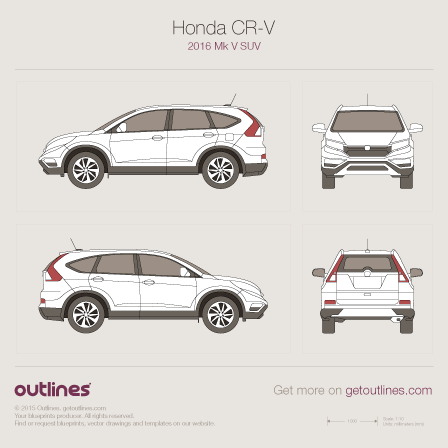 2016 Honda CR-V Mk V SUV drawings