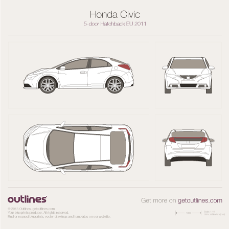 2011 Honda Civic FB EU 5-door Hatchback blueprint