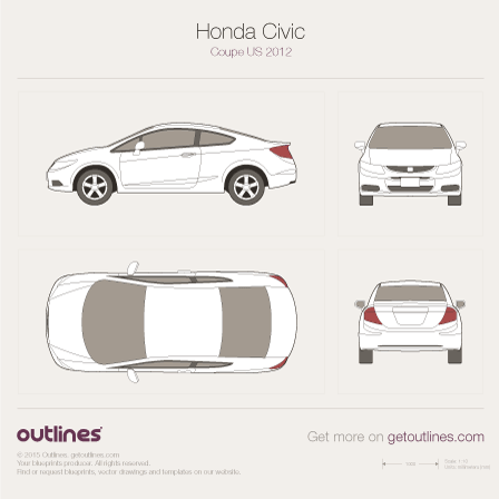 2011 Honda Civic FB US Coupe blueprint