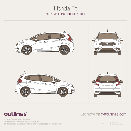 2013 Honda Fit III 5-doors Hatchback blueprint